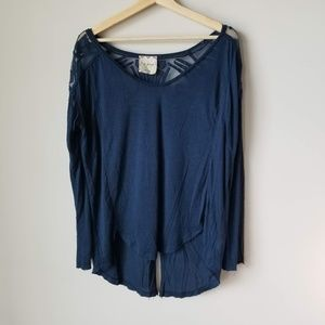 Free People Gatsby Jersey Blouse Long Sleeve Tee